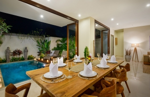 Villa Sophia Legian, Bali - Dining table overlooking the pool